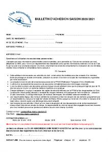 BulletinAdhesion Saison 2020-2021