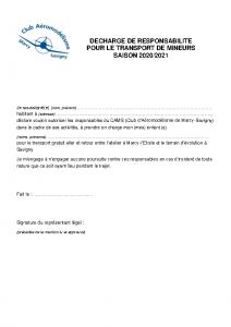 DechargeTransportMineur 2020-2021